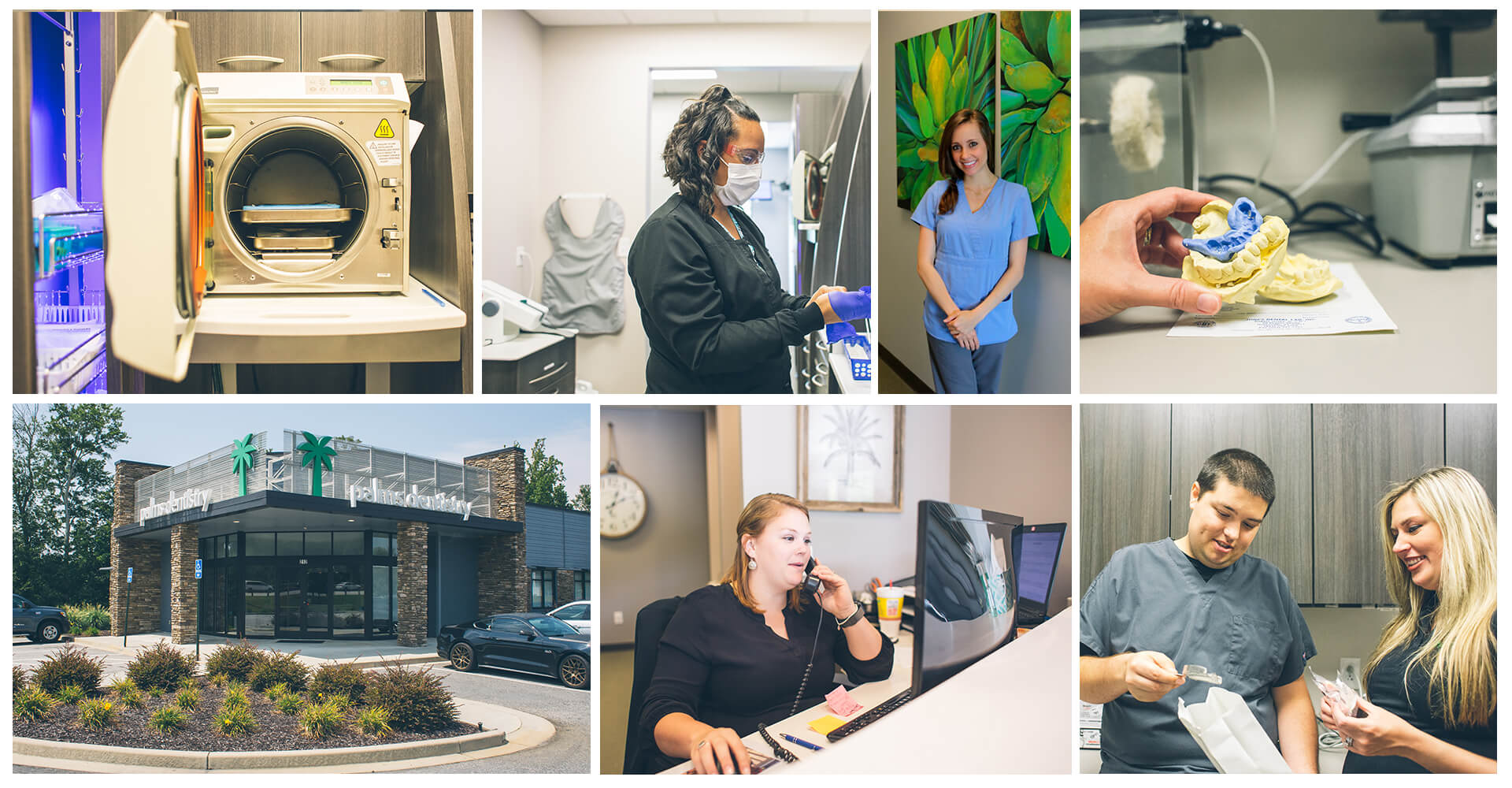 A collage of our Palms Dentistry team in action