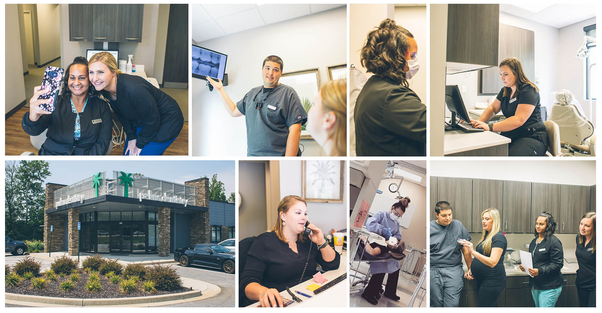 A collage of our entire team of Palms Dentistry specialists working in different office rooms and our building seen from the outside showing the parking lot