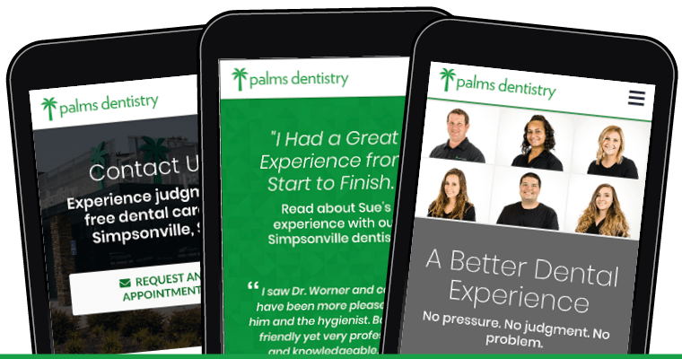 Preview of Palms Dentistry new website as shown on 3 different mobile devices.